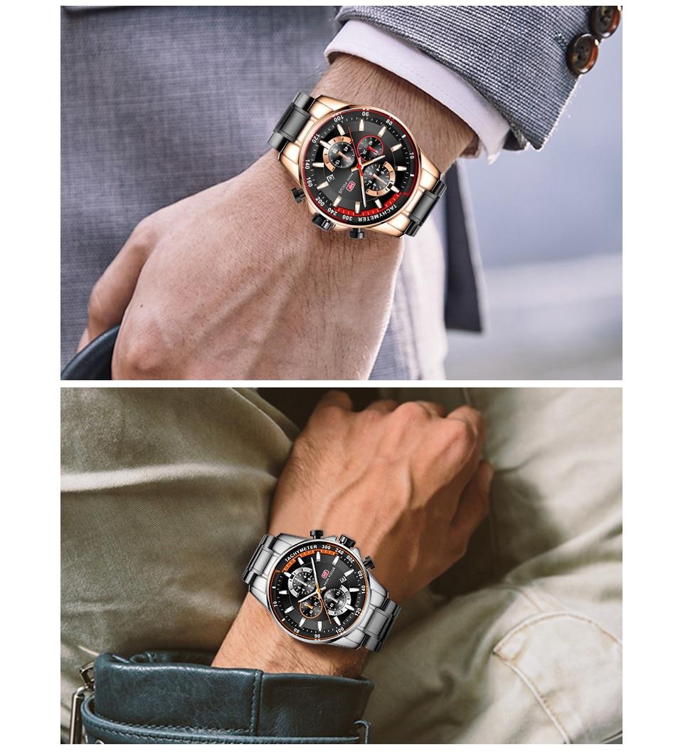 Image 5 - MINI FOCUS 2019 mode bleu montre hommes Quartz horloge métal bracelet multifonction calendrier sport hommes montres haut marque de luxeMontres à quartz   -