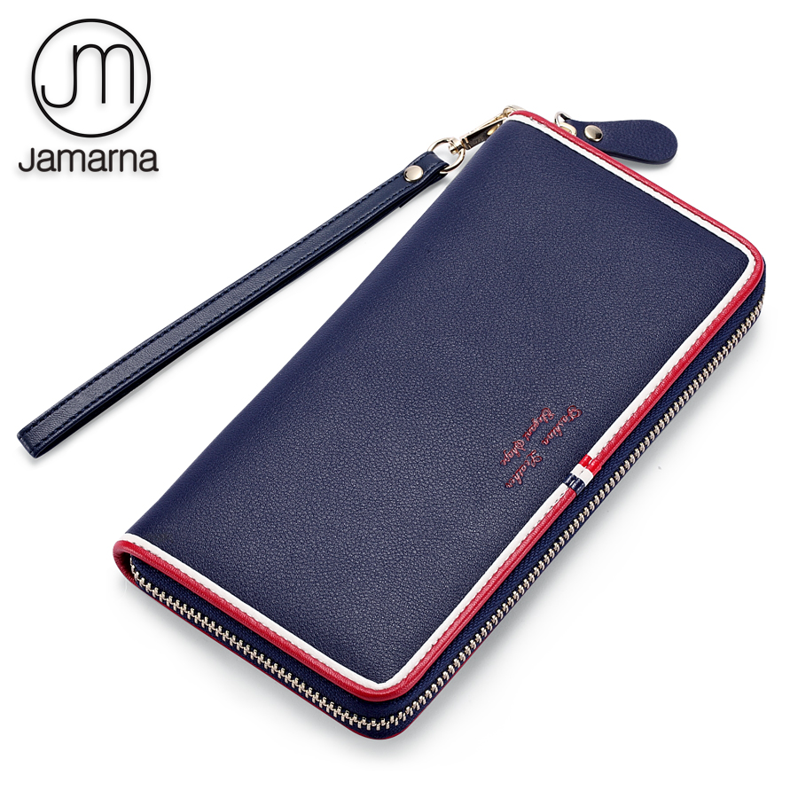 Jamarna Women Wallets Genuine Leather Purse Long Clutch Women Wallet Female Red Zipper Mobile Card Holder Coin Wallet Wristband brand 3 fold genuine leather women wallets coin pocket female clutch travel wallet portefeuille femme cuir red purse card holder