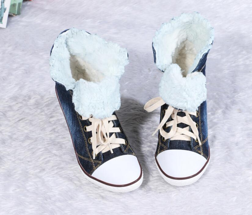 Kaeve Blue Denim Lace-up Ankle Boots Fashion Casual Thin Heels Cross-tied Pumps Round Toe Cowboy Shoes Jean Snow Boots слинг шарф fil39 up s m blue jean джинсовый fil39 up на