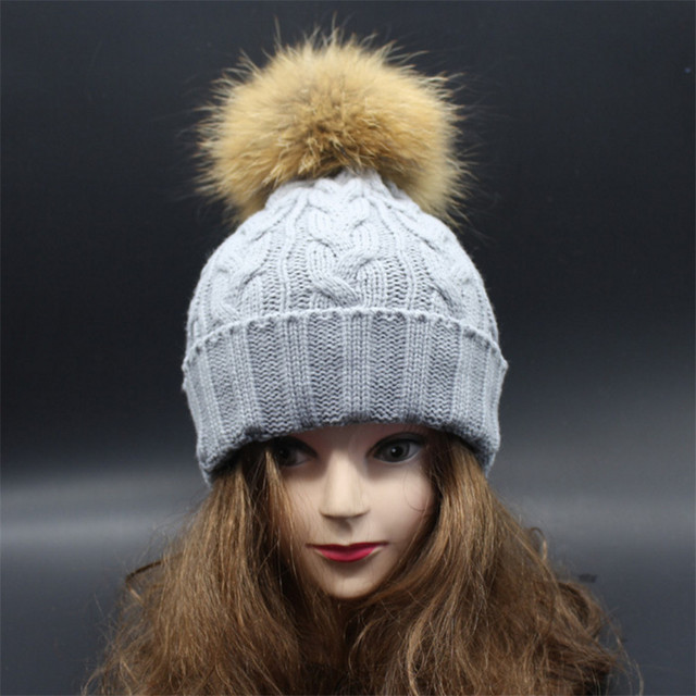 [Ode To Joy]Real fur pompon women winter hat for lady's  wool hat knitted cotton beanies cap brand new fashion thick black