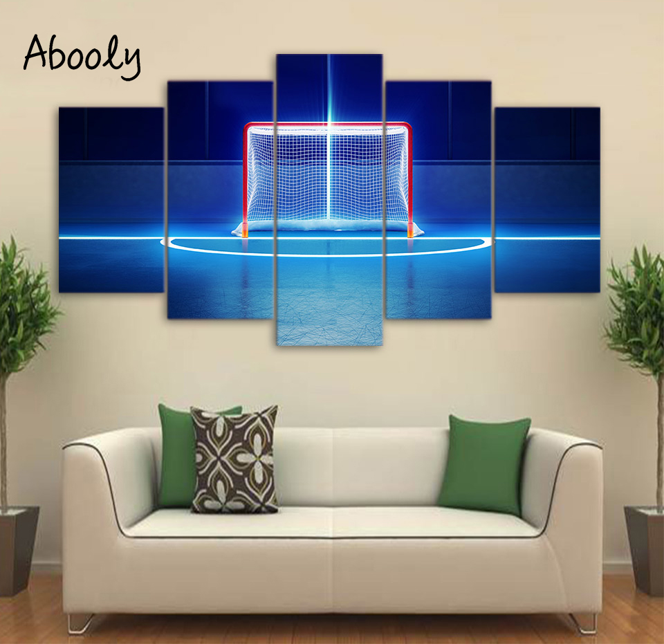 5Piece Canvas Paint Abstract Football Field Posters Wall Painting Picture For Quadros Decora Painting Home Decor Anime Poster