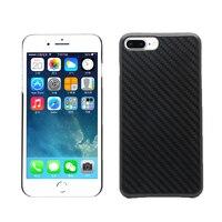 100% Real de Fibra de Carbono para el iphone 7 7 Más 8 Más de Lujo Ultra Delgada Cubierta de la Caja Negro