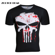 Hot Punisher/Black Panther/Batman/Superhero T shirt Compression High Elastic Tops Quality Crossfit Fitness Tees 2017 ZOOTOP BEAR