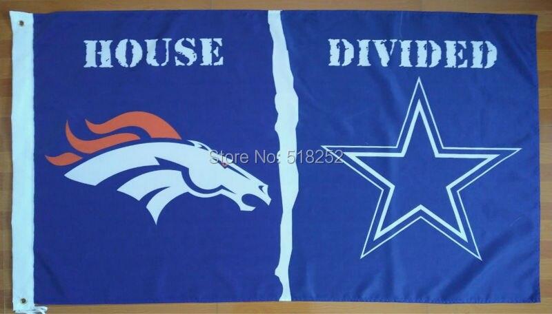 Denver Broncos Dallas Cowboys House Divided Flag 3x5 Ft