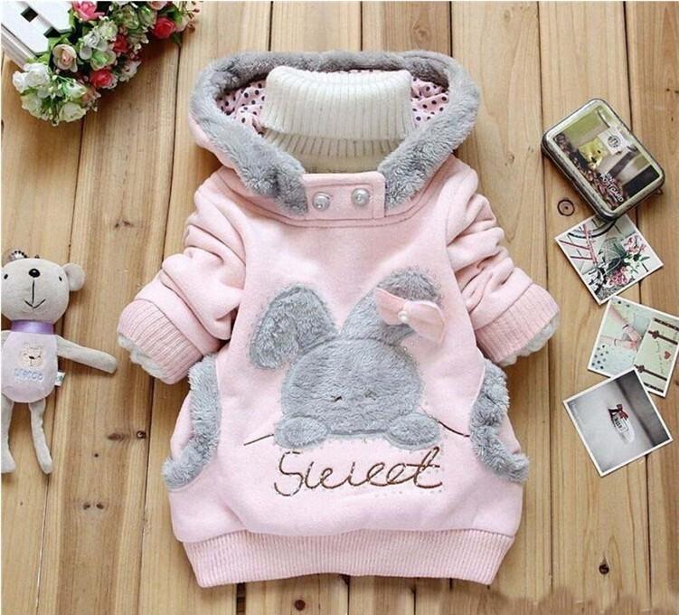 Girls Sweatshirts Hoodies Children Clothing Autumn And Winter Baby girl Thick Cotton Tops Kids Cute Cartoon Rabbit Hooded Coat 6