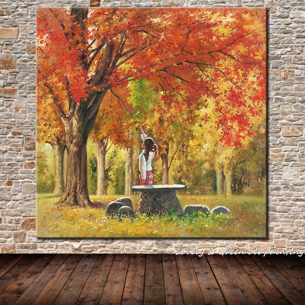 Beautiful Girl And Landscape Printed Oil Painting On Canvas Cotton Modern Wall Art Wall Painting For Living Room Home Decoration