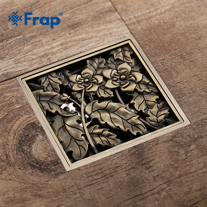 Frap Shower Drains 10*10cm Bath Drains Strainer Hair Antique Brass Flower Carved Bathroom Floor Drain Waste Grate Drain Y38067 drains 10 10cm antique brass shower floor drain cover euro art carved bathroom deodorant drain strainer waste grate hj 8507s