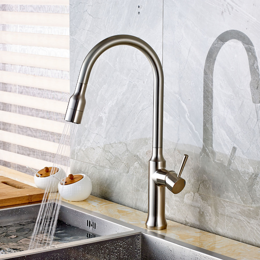 New Pull Out Sprayer Brushed Nickel Kitchen Sink Faucet Single Lever Mixer Tap Deck Mount