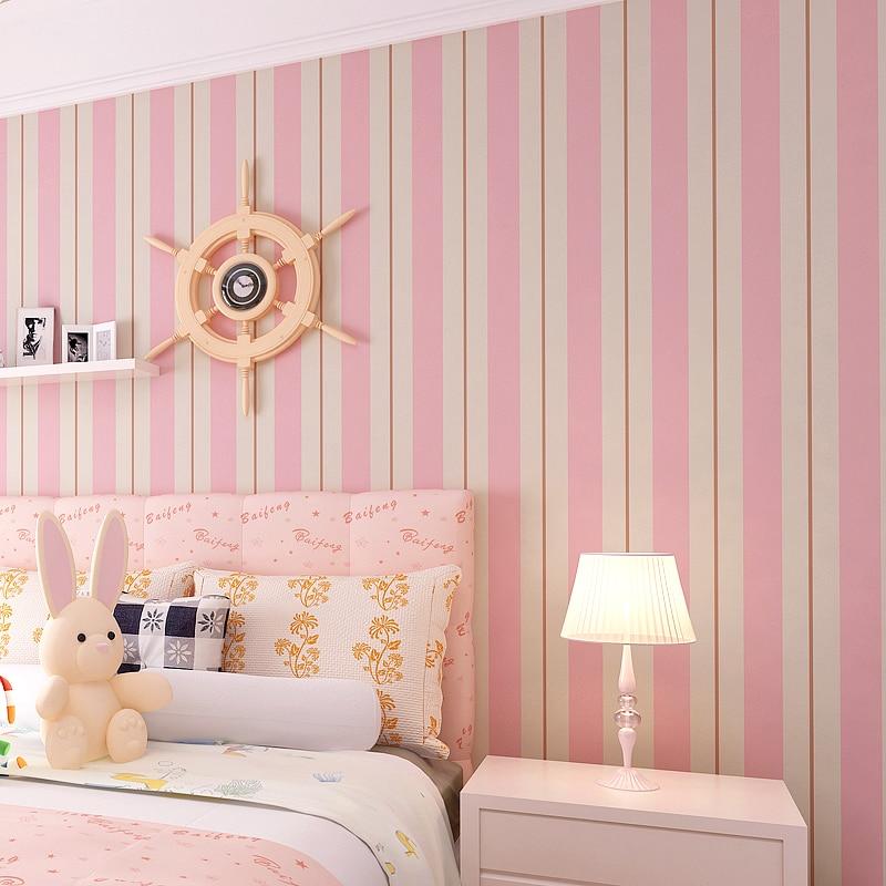 Pink blue striped wallpaper bedroom children room - Pink and white striped wallpaper bedroom ...