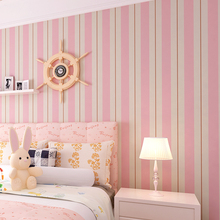 Pink Blue Striped Wallpaper Bedroom Children Room Background Decoration Roll