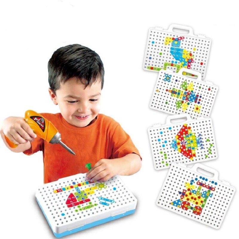 Kinder Bohrer Spielzeug Pädagogisches Puzzle DIY Gebäude Spielzeug Bohrmaschine Schrauben Montiert Pretend Spielen Kreative Werkzeug Kit Spielzeug Für Jungen