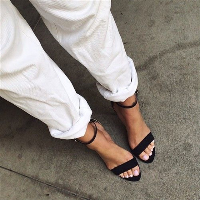12180089181 Strappy Sandals Black Pink White Rose Gold Ankle Strap Heels Open Toe  Gladiator Sandals Women Pumps Real Leather Summer Shoes 43