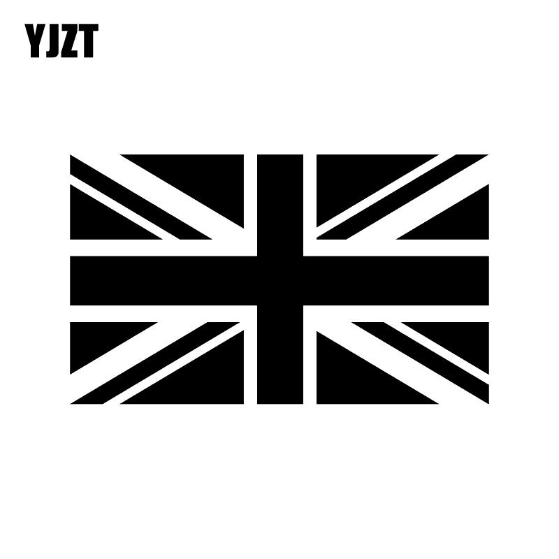 YJZT 16CM*9.5CM British Union Jack Flag Vinyl Decoration Car Sticker Decal Black/Silver Fashion Car-styling C11-1285