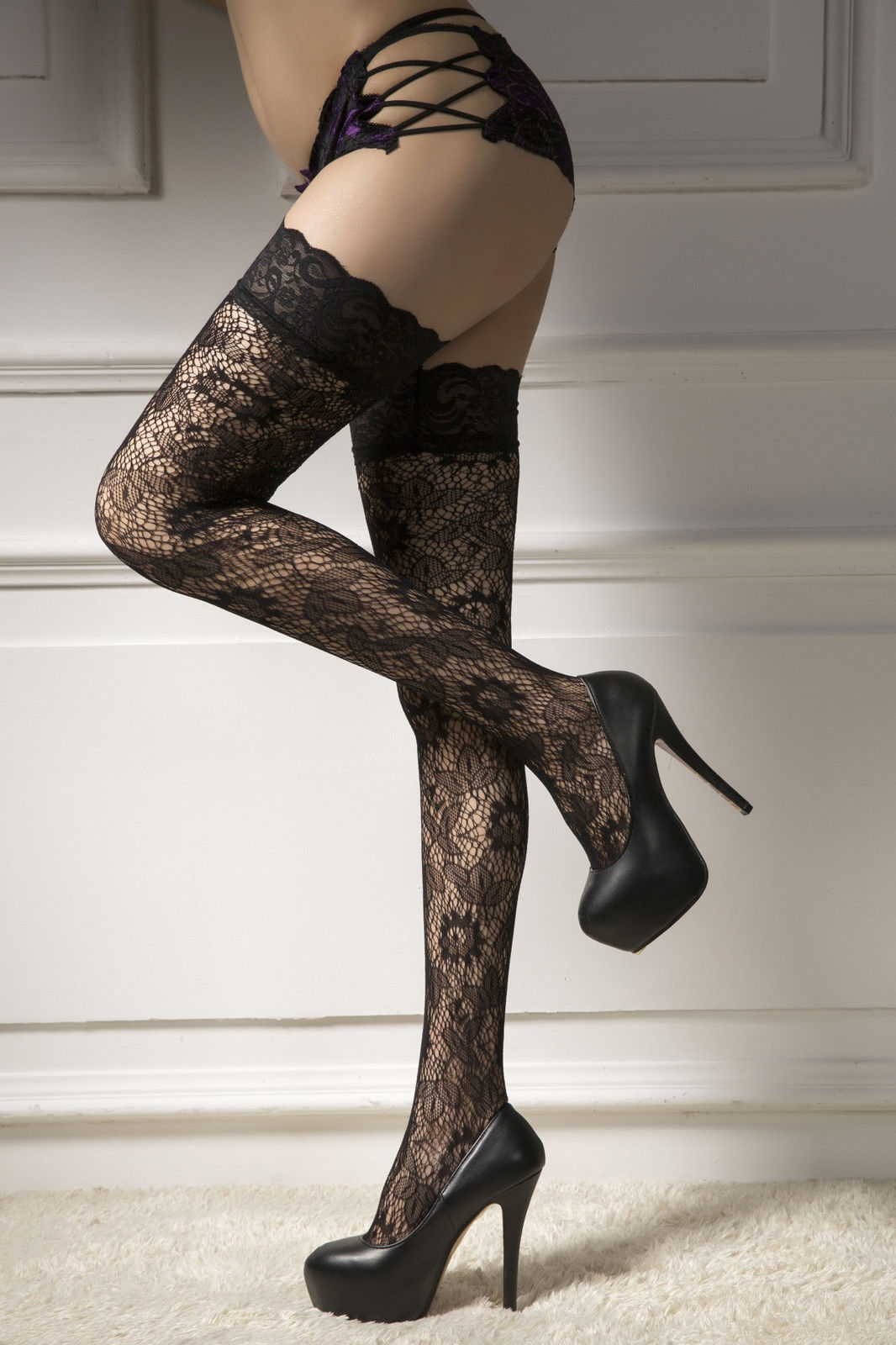 Sexy Ladies Fashion Sheer Lace Top Stay Up Stockings Thigh High Pantyhose Hold Up