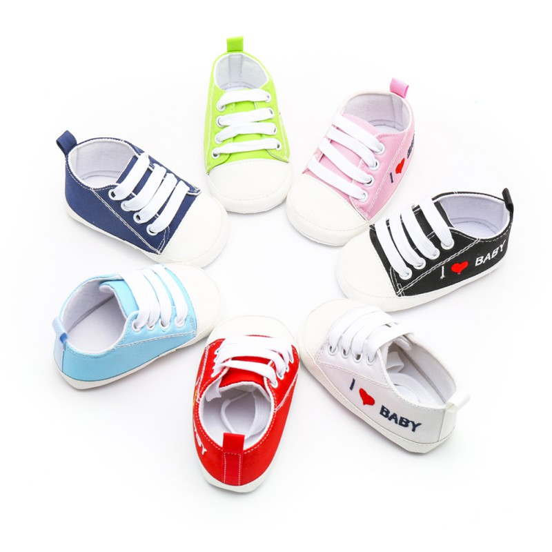 Baby Shoes Newborn First Walkers Baby Boy Girl Letter Printing Canvas Lace-Up Shoes Baby Toddler Shoes