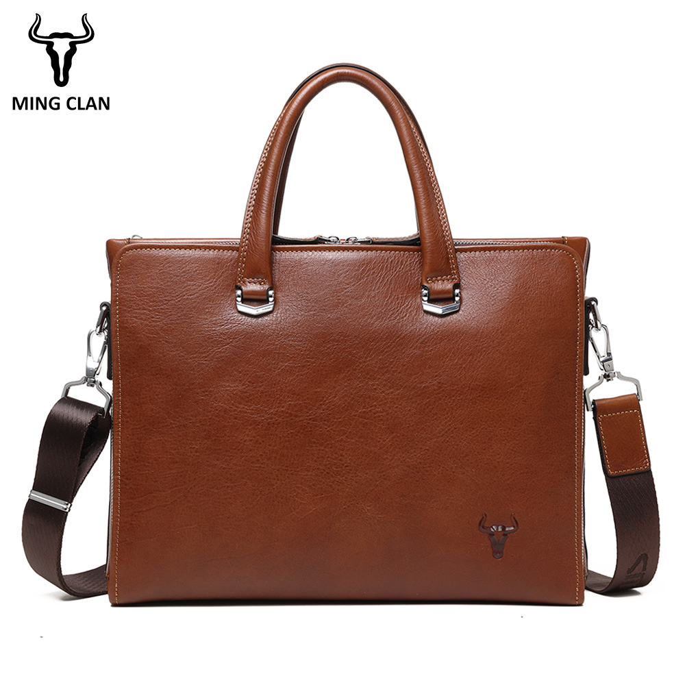 Business Bag Made of Italian Vegetable Tanned Leather Mens Briefcase Brown 14 Computer Bags Vintage Handbag for Men Brief Case italian made simple