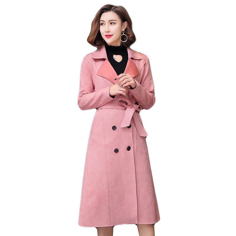 Autumn Suede Trench Coat Women Double Breasted Elegant Long Trench Coat Windbreaker Abrigo Mujer Suede Overcoat Plus Size C4662