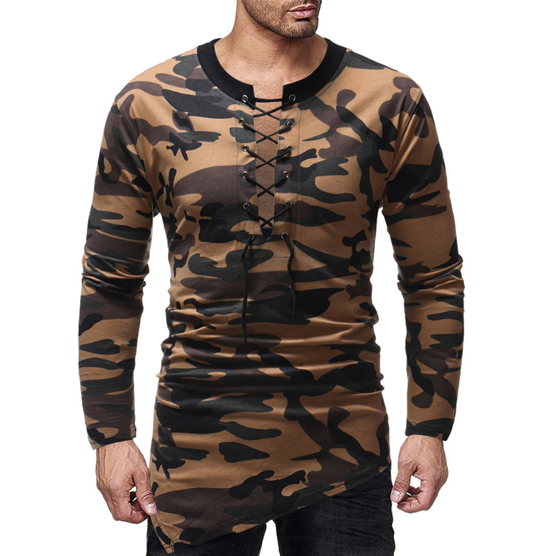 Fashion Men's T Shirts Autumn Long Sleeve Shirts Sexy Lace Up Camo T-Shirt Cotton Irregular Slim Fit Military Army Hombre Tops