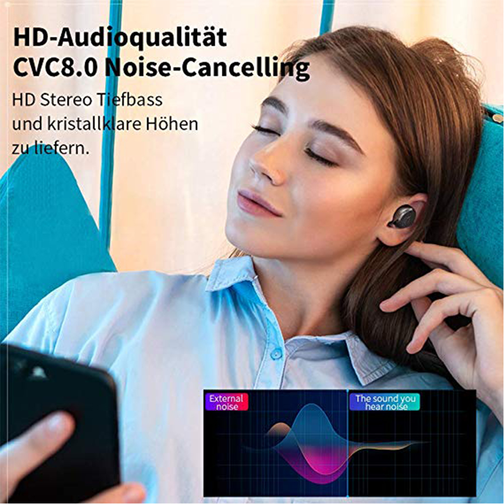 Image 5 - TWS S8 Plus True Wireless Earbuds Bluetooth 5.0 Earphones Touch Control IPX6 Waterproof CVC8.0 Noise Cancelling Headset With Mic-in Bluetooth Earphones & Headphones from Consumer Electronics