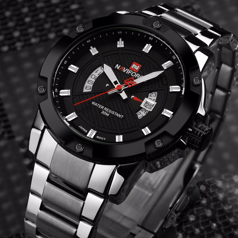 NAVIFORCE Men Luxury Brand Full Steel Army Military Watches Men's Quartz Hour Clock Watch Sports Wrist Watch relogio masculino luxury brand men military sports watches for men s quartz led digital hour clock male full steel wrist watch relogio masculino