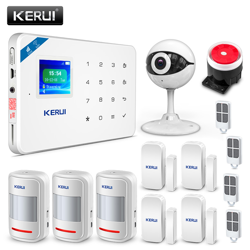 KERUI W18 Wireless Wifi GSM IOS/Android APP Control Burglar Alarm System Russian/English Voice Home Security Alarm wolf guard wifi wireless 433mhz android ios app remote control rfid security wifi burglar alarm system with sos button
