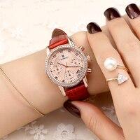 Twincity ריינסטון נשים שעונים גבירותיי ילדה שעון קוורץ עור אמיתי אופנה עמיד למים שעון יד relojes אדום שישה פינים 2016