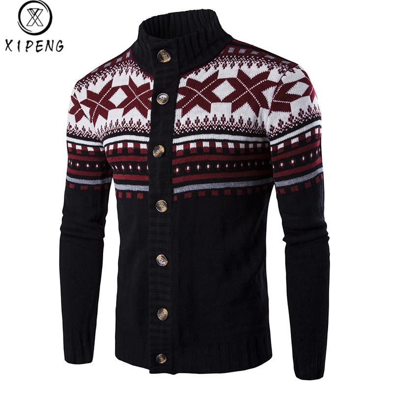 Autumn/Winter Men Knitted Cardigan Sweater Male Cotton Casual Sweater Turtleneck O-Neck Slim Fit Men Leisure Christmas Style