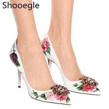 b5881ea669 Bling Rhinestone Floral impressão Mulheres Bombas Bico fino Salto Alto  senhoras sapatos de cristal do partido