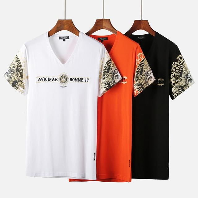 fb36e7bc76d Funny printed brand t shirt men 2018 summer V-neck Egyptian short sleeve  cotton man t-shirt funny t shirts homme cool tops tees
