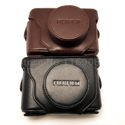 Free shipping Leather Camera Case Bag Cover For Fujifilm Fuji X10 X20 Finepix black coffee color