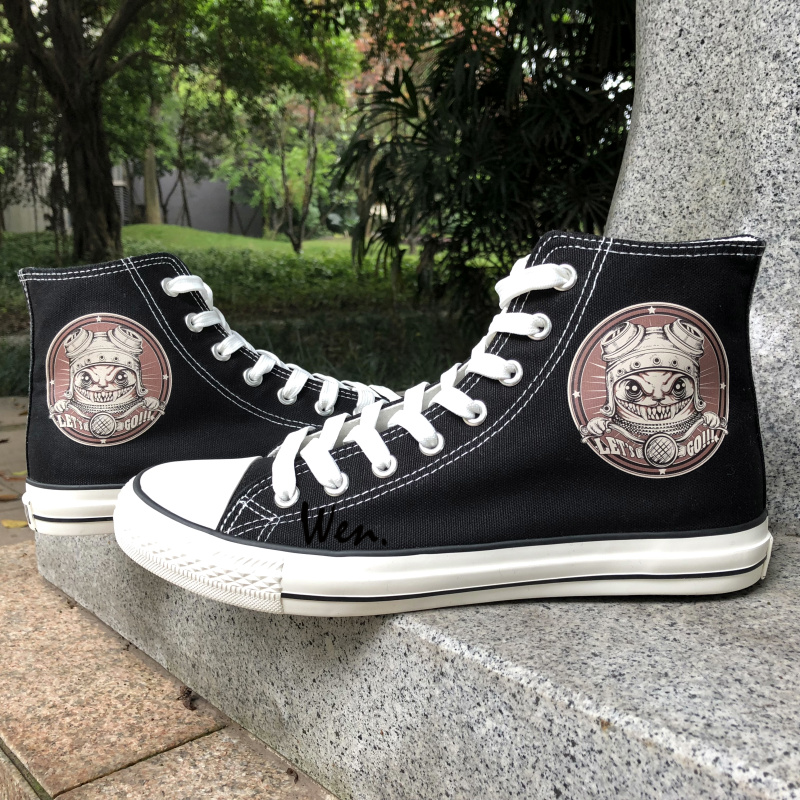 Wen Original Design Retro Cat Motorcyclist High Top Tie Up Black Canvas Shoes Sneakers U ...