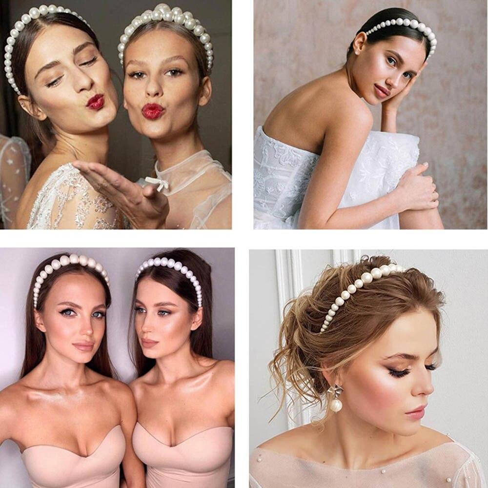 Cheer Bow 2019 Big Pearls Hairbands Elegant Headband Women Headwear Cute Bear Ear Hair Hoop Bezel for Girls Hair Accessories