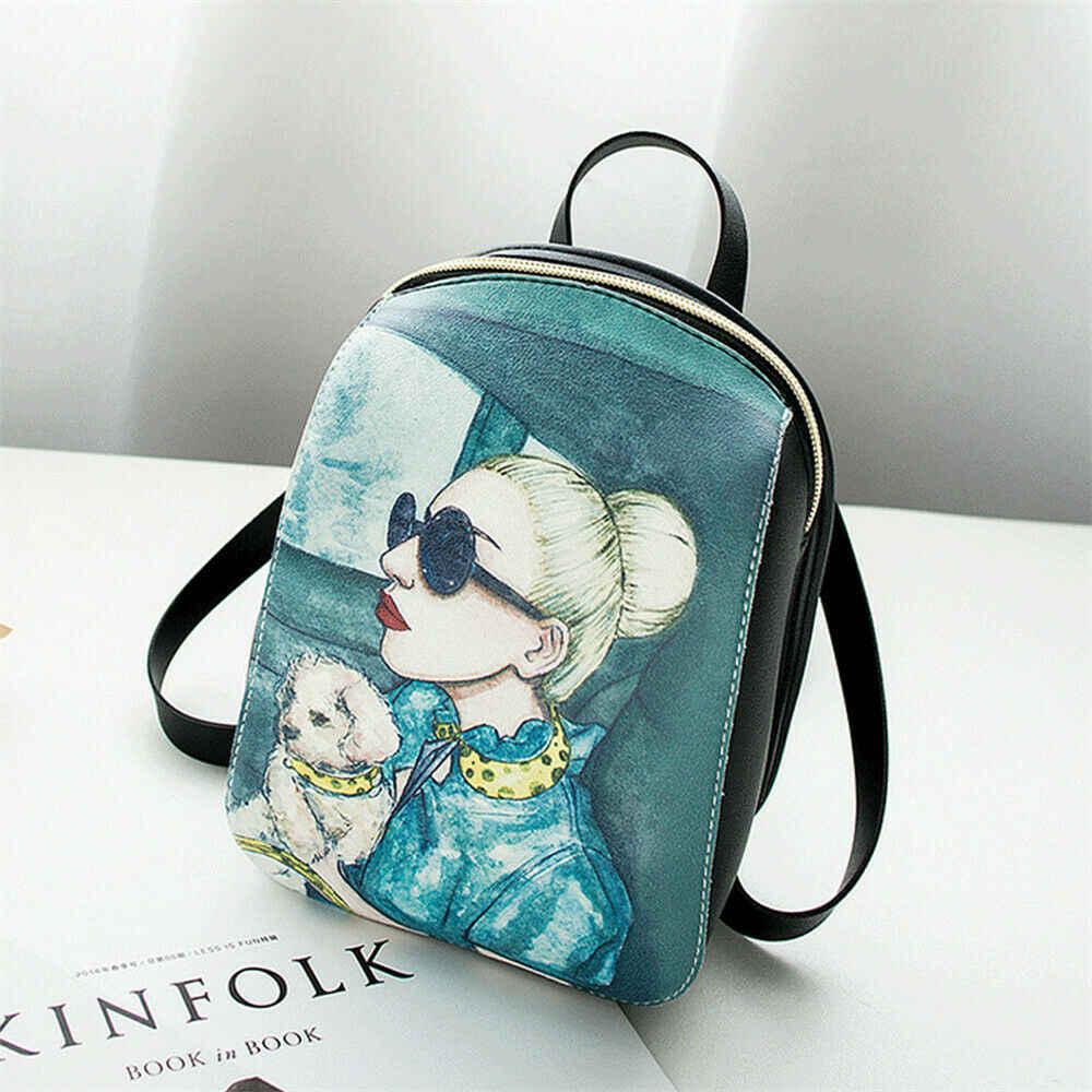 Kadın moda sırt çantası karikatür baskı mini çanta açık eğlence omuzdan askili çanta canta okul çantası