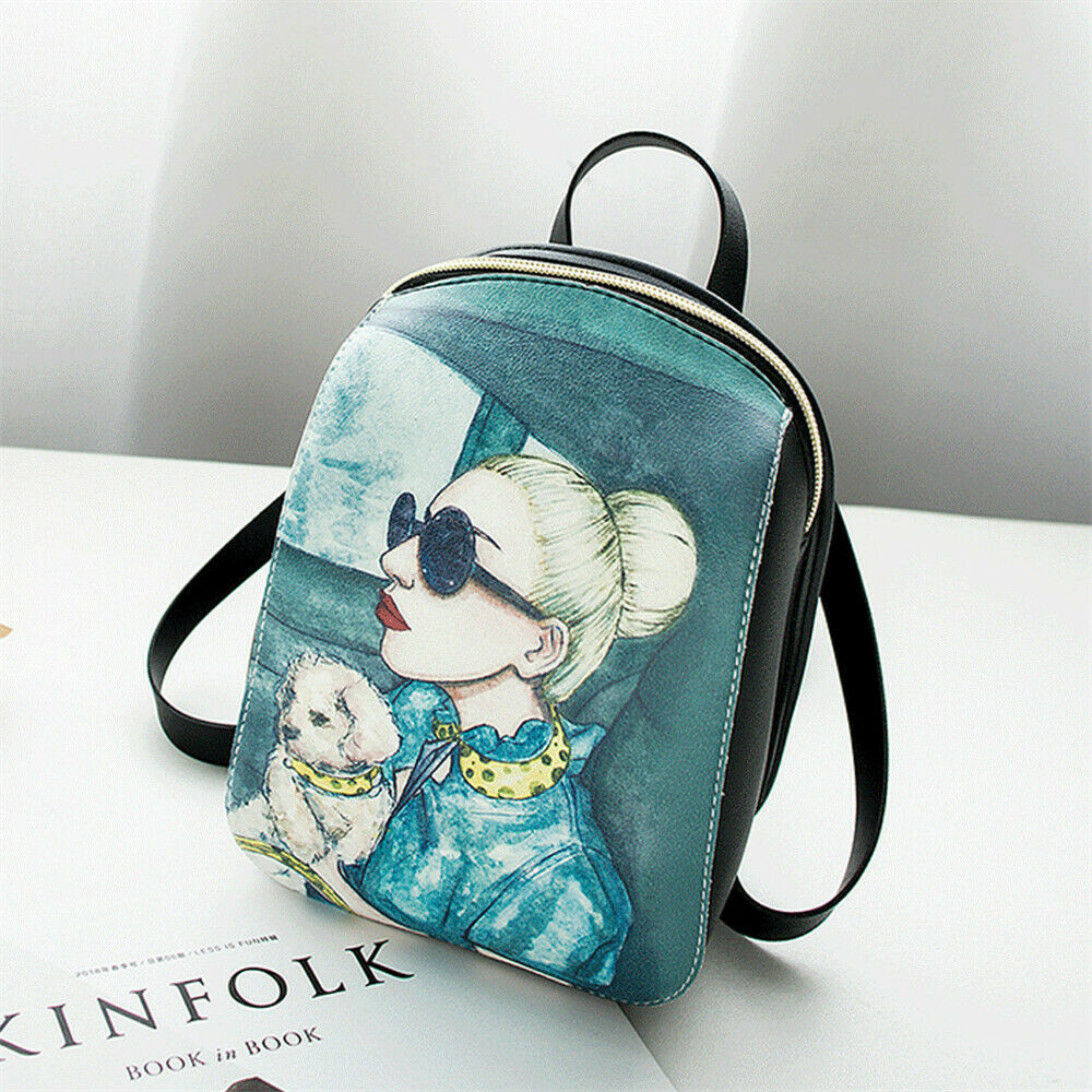 Women's Fashion Backpack Cartoon Printing Mini Bag Outdoor Leisure Shoulder Bag Canta School Bag