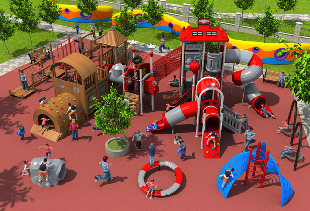 CE,ISO,TUV Outdoor Wooden Playground Garden Plastic Slide Fire Control Type  Children Wooden