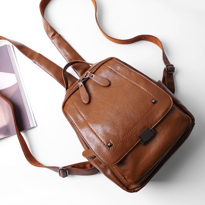 Fashion Leather Female Backpack Large Capacity Travel Shoulder Bag 2018 New Oil Wax Mochila Backpack Women School Bags цена