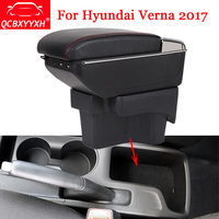 QCBXYYXH Car Styling ABS Armrest Box Center Console Storage Box Holder Case For Hyundai Verna 2017 2018 Auto Accessories