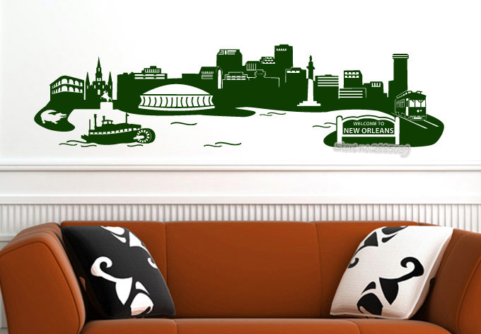 New Orleans Skyline Wall Decal The wonderful city of New Orleans Vinyl Removable Wall Stickers Living Room Sofa Background LA563 image