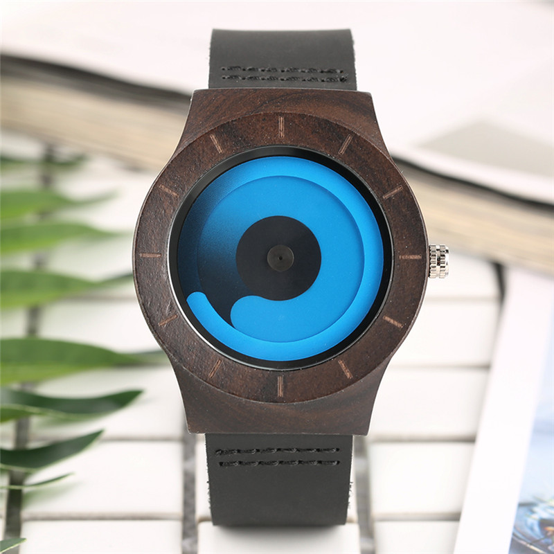Casual men women wooden watch novel vortex non pointer sport bamboo wristwatch geek concept for Vortix watches