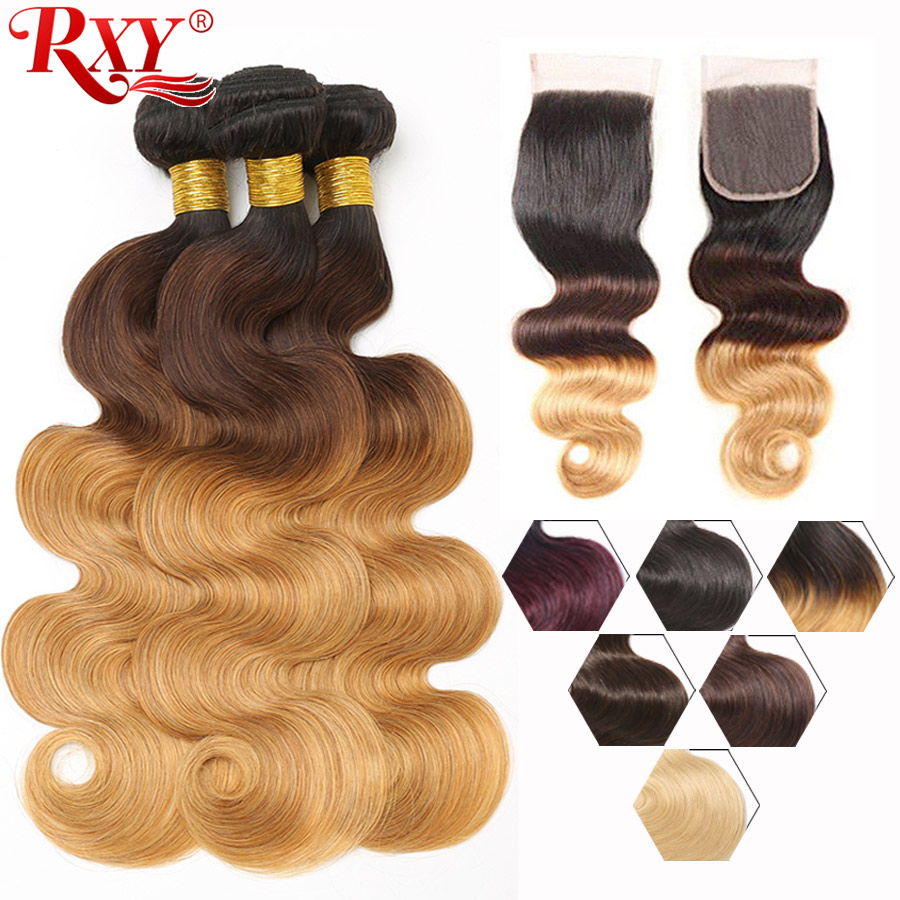 RXY Ombre Body Wave Bundles With Closure 1b 99j 1b 4 27 1b 27 613 Blonde