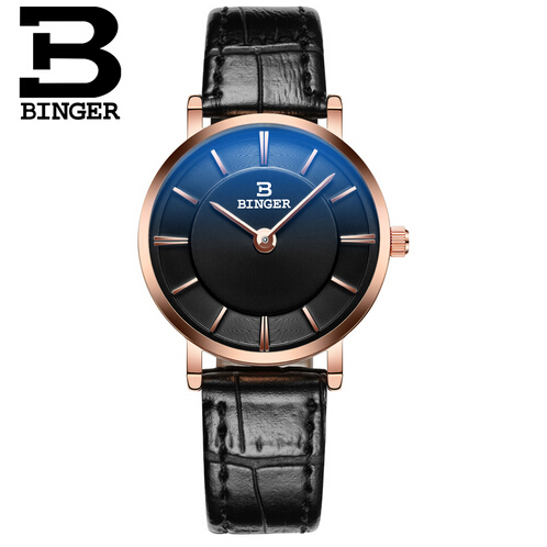 New Brand Relogio Feminino Binger Clock Female Leather Watch Ladies Fashion Casual Gold Watch Quartz Wrist