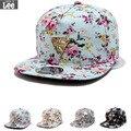 2017 nova moda flor loral snapback cap hop chapéu plana boné de pala ajustável
