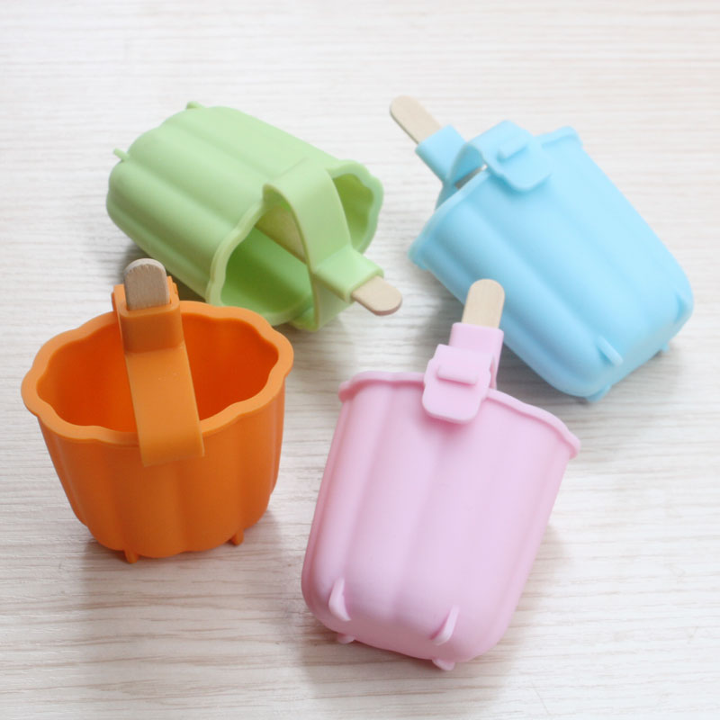 5pcs High quality DIY Food-grade Silicone Popsicle Mold Send Wood Popsicle Sticks Ice Cream Tubs Tools Lollipop Moulds