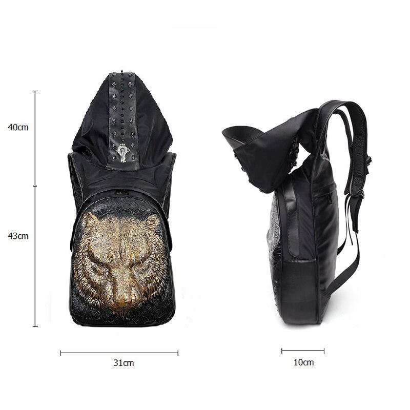 Mode Punk sac à dos femmes hommes hip-hop sac à dos Famale 3D tigre Rivet sacs à dos avec chapeau sacs d'école pour adolescents sac de voyage - 6