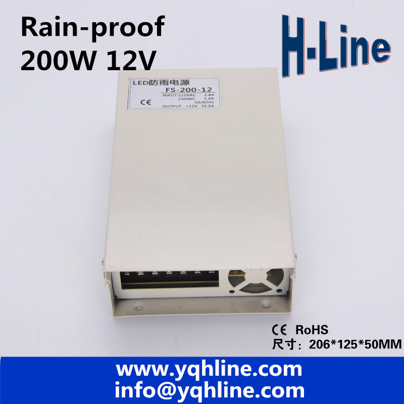 Rain-Proof LED switch power supply Output DC12V 16.6A 200W power adapter LED switch power supply LED driver (FS-200-12) image