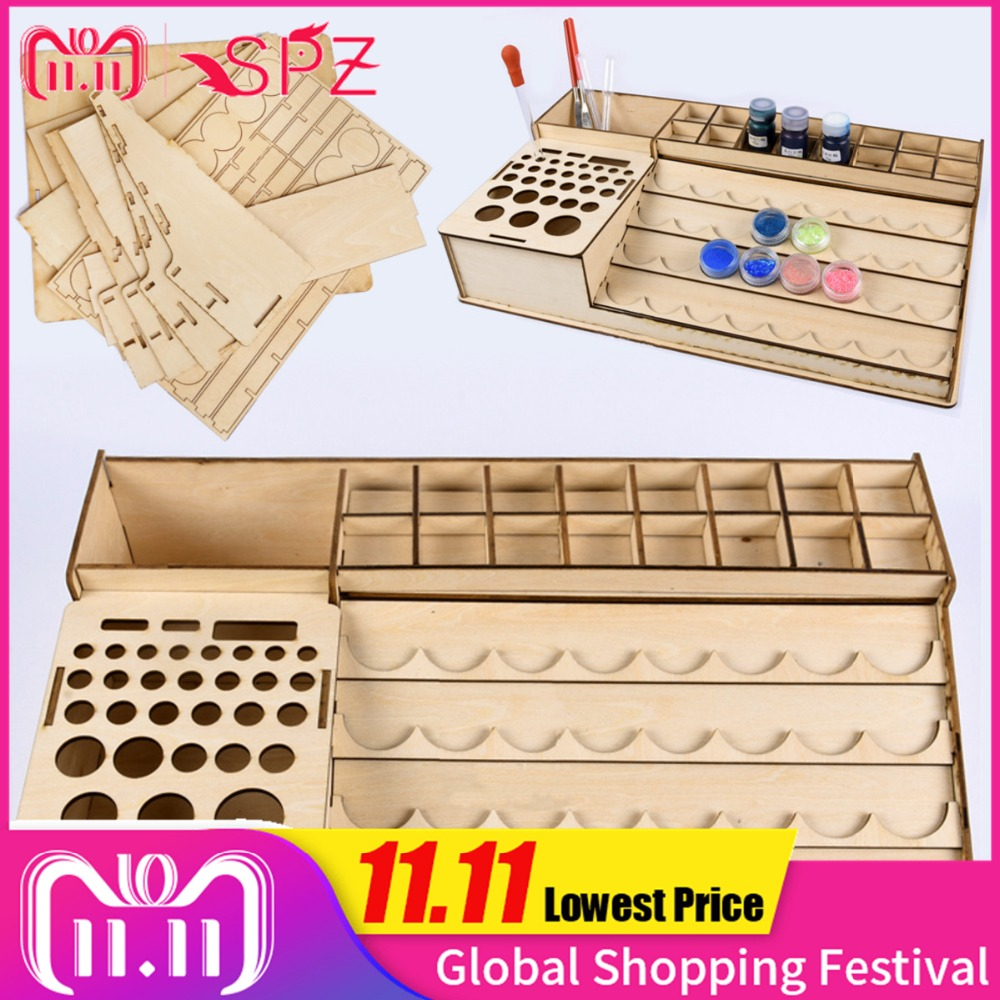 Wooden Cosmetic Makeup Organizer Tattoo Paint Bottles Display Rack Brushes Holder Stand Epoxy Microblading Storage Model Tool цена