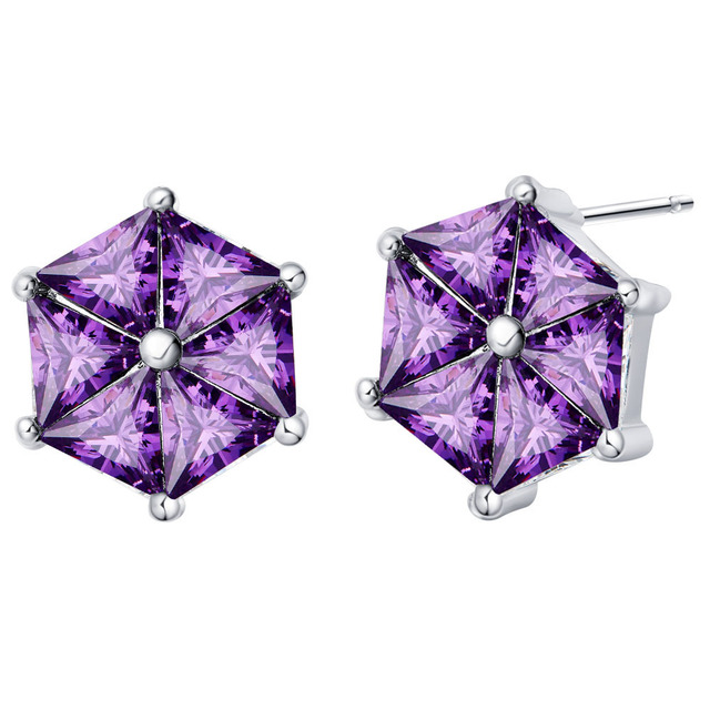 New Arrival Fashion Purple Hexagon Geometric Silver Earrings with Simulated Amethysts Crystal Oorbellen for Women Jewelry R863