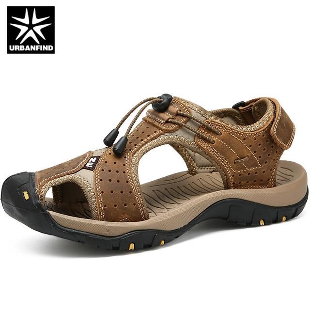URBANFIND 2019 Novos Sapatos Masculinos de Couro Genuíno Dos Homens Sandálias Sapatos Masculinos de Verão Sandálias de Praia Homem de Moda Ao Ar Livre Tênis Casuais