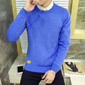 autumn 2016 men's fashion trend of Korean all-match solid color leather standard multicolor O neck hedging casual sweater M-3XL