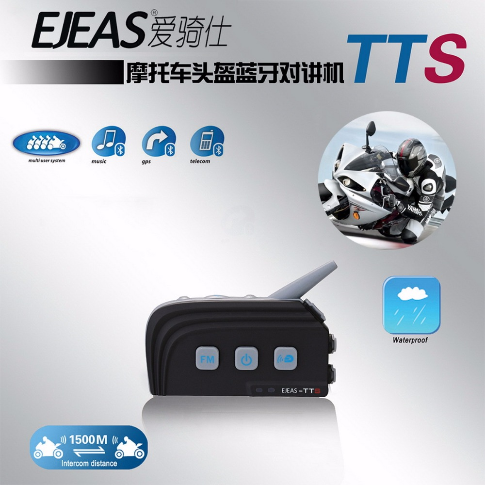 EJEAS TTS Motorcycle Helmet Dual Mode Bluetooth Intercom Full Duplex Interphone MAX 4 Riders for Outdoor